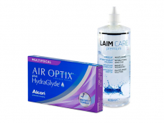 Air Optix plus HydraGlyde Multifocal (3 šošovky) + roztok Laim-Care 400 ml